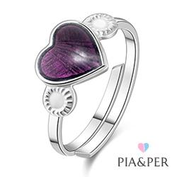 Dansk smykkedesign Pia og Per hjertering i soelv lilla emalje