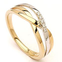 Billig guldring I 14 karat guld og hvidguld med diamant