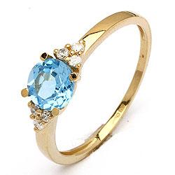Billig guldring med blaa topas - flot og billig ring I guld med topas sten