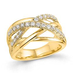 Bred diamant damering i 14 karat guld