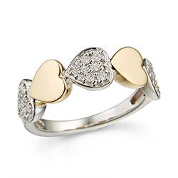 Bred diamant hjertering i 14 karat guld og hvidguld