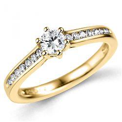 Kvinde diamant guldring i 14 karat guld