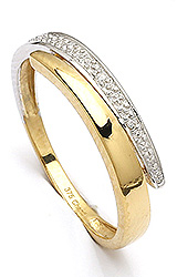 Enkel dame guld ring i 9 karat guld og hvidguld