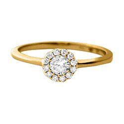 Smuk og billig rund forlovelsesring med diamanter - 14 karat guld