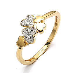 Smal guldring med hjerte i 9 karat guld
