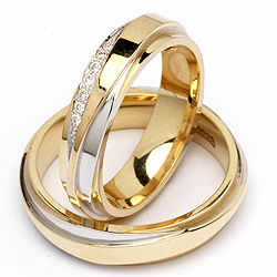 God pris på tofarvede vielsesringe 14 karat guld og hvidguld